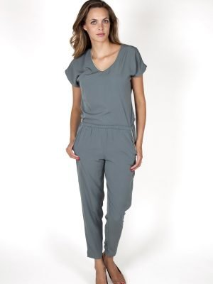 khaki grey jumpsuit for women fashion capsule by juliette