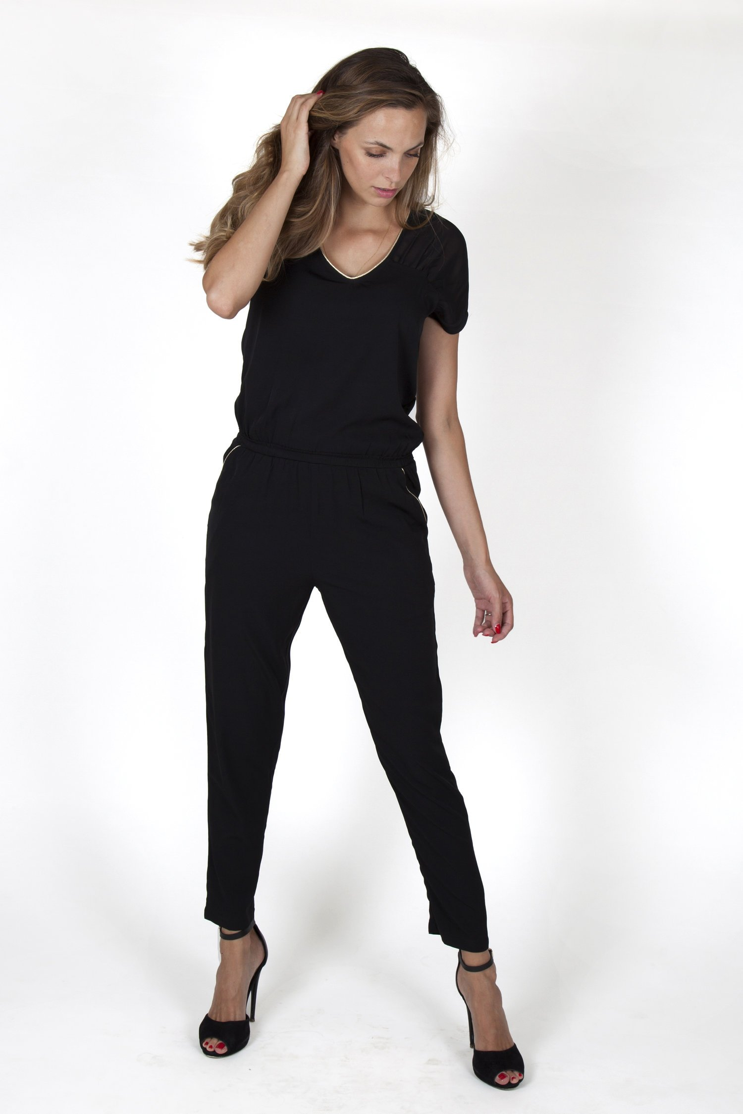 black jumpsuit for women with voile fashion capsule by juliette