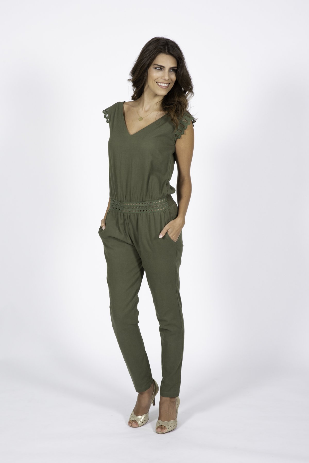 khaki jumpsuit for women fashion capsule by juliette