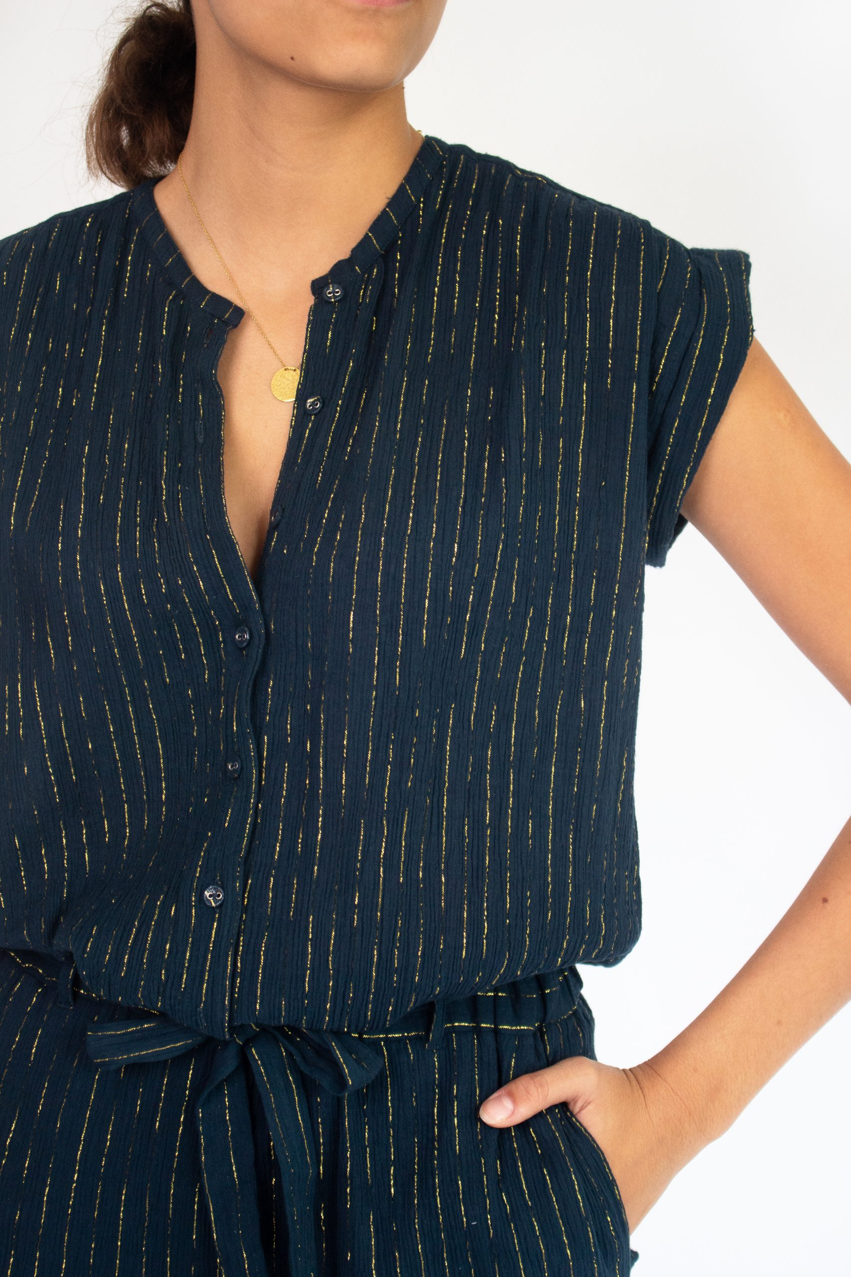 midnight blue playsuit for women with gold stripes fashion capsule by juliette