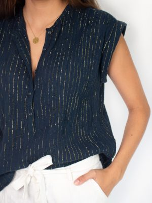 midnight blue top for women with gold stripes fashion capsule by juliette