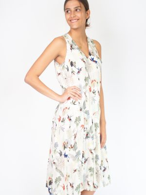 white dress for women with birds fashion capsule by juliette