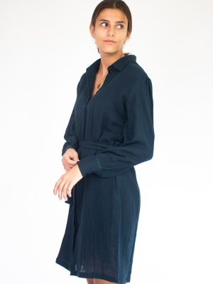 midnight blue long sleeves shirt dress for women fashion capsule by juliette