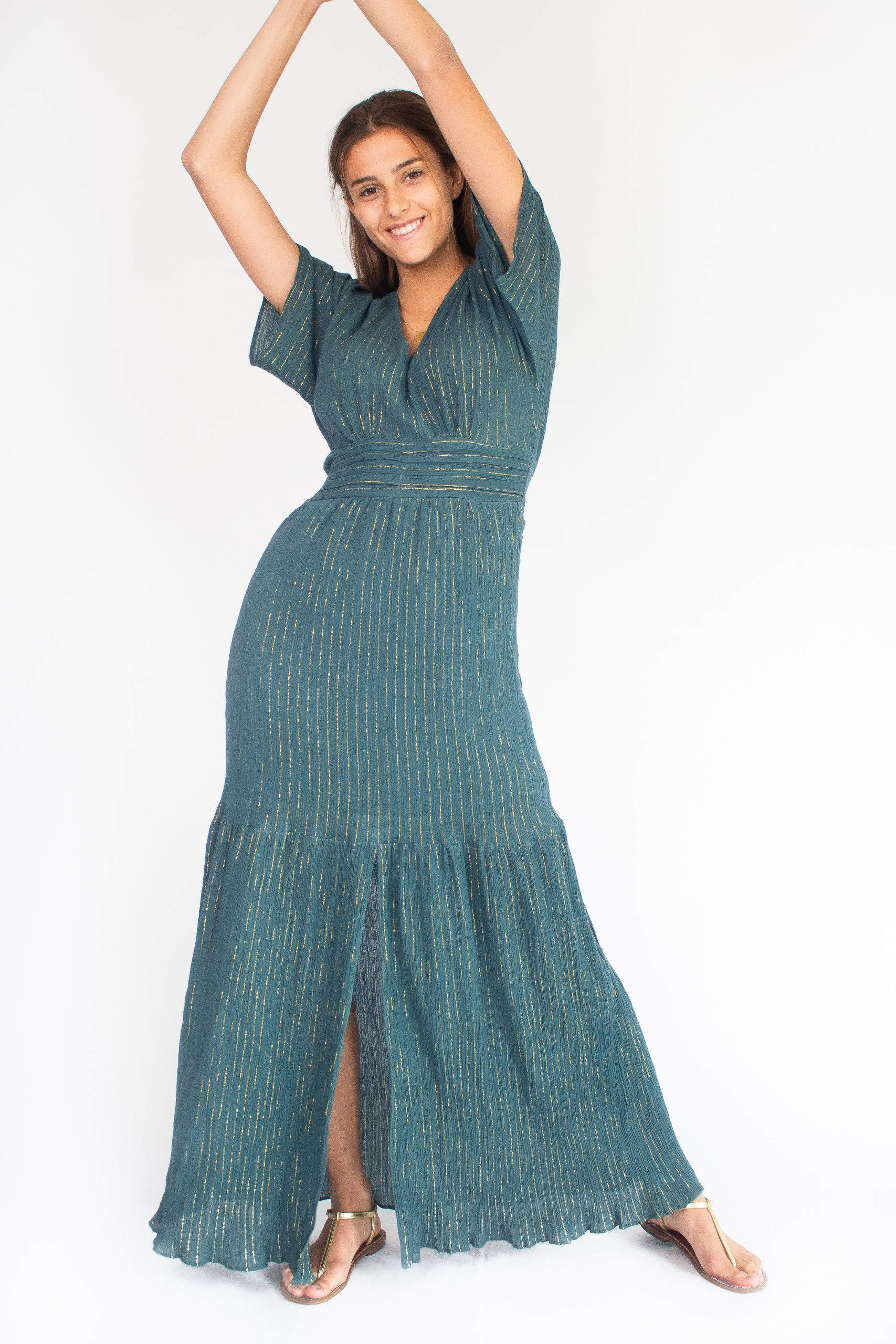 forest green long dress for women with gold stripes fashion capsule by juliette