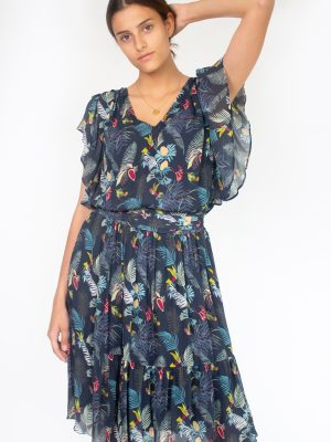 midnight blue dress for women with birds fashion capsule by juliette
