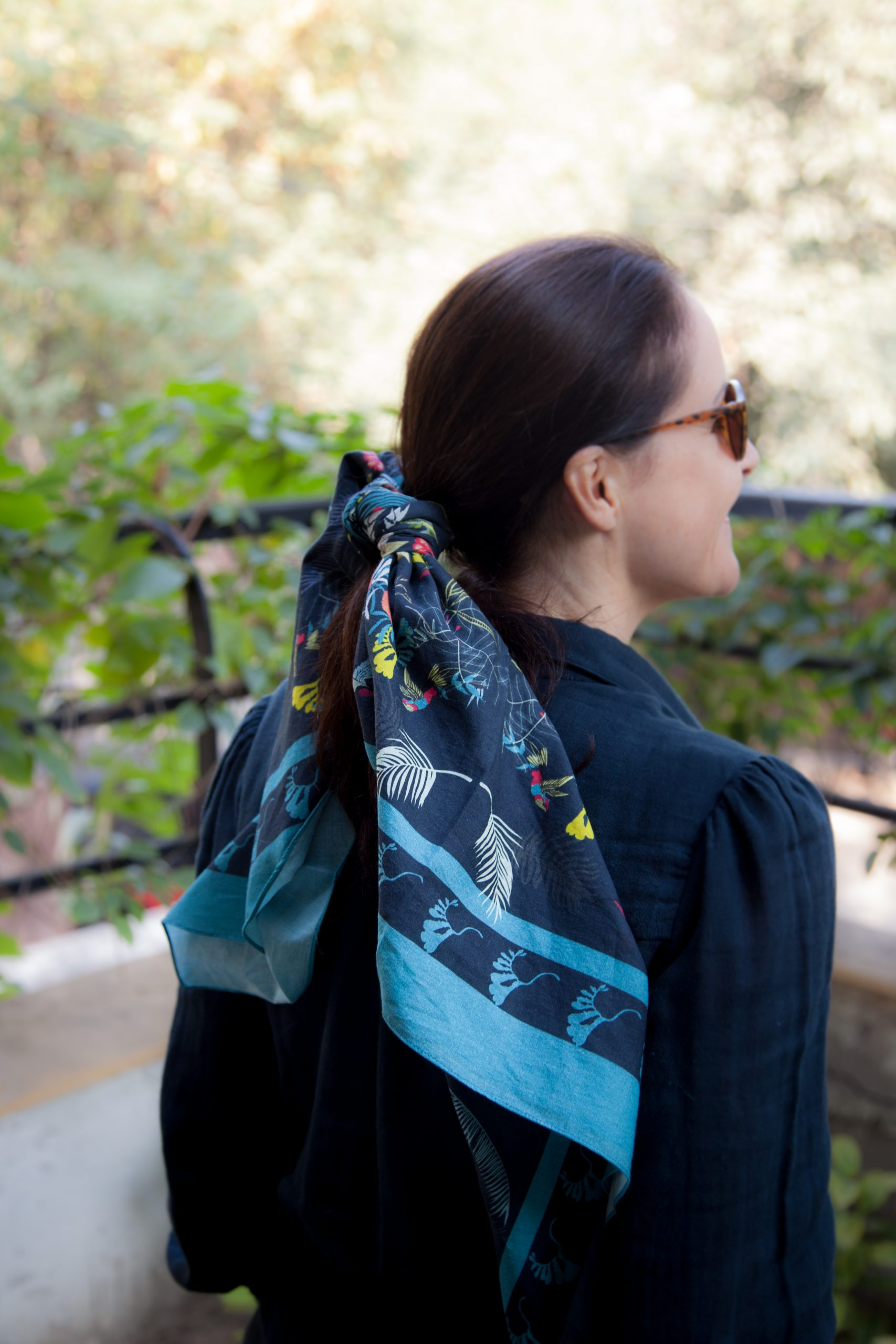 blue scarf for women birds print fashion capsule by juliette