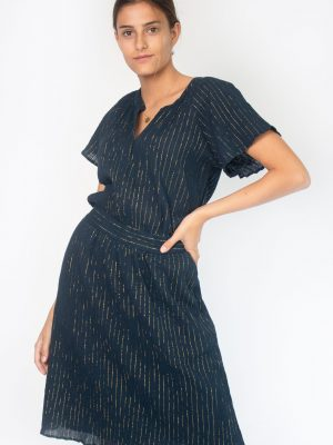midnight blue dress women with gold stripes fashion capsule by juliette