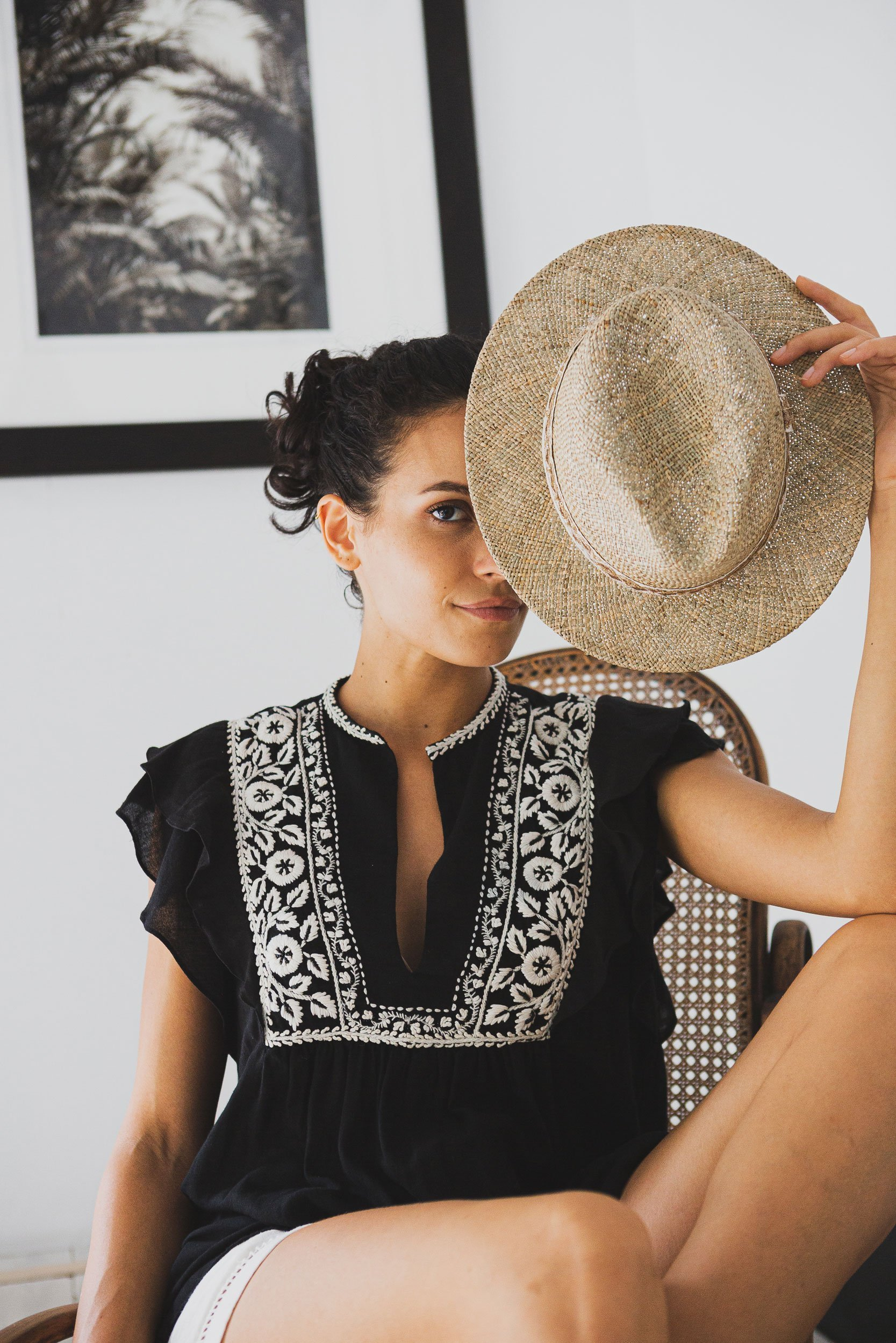 aya black top white hand embroideries fashion capsule by juliette