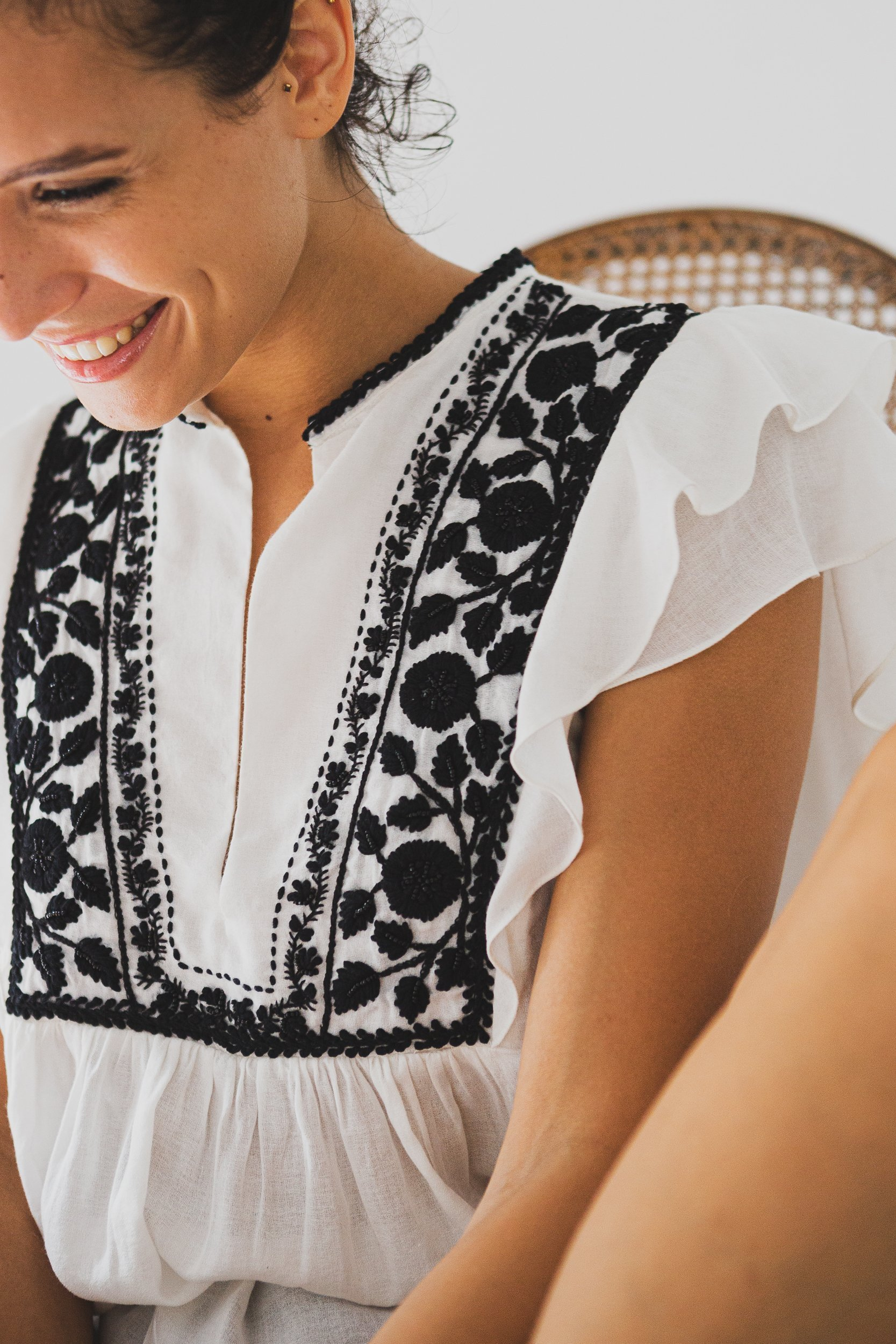 aya white top for women with black hand embroidery fashion capsule by juliette