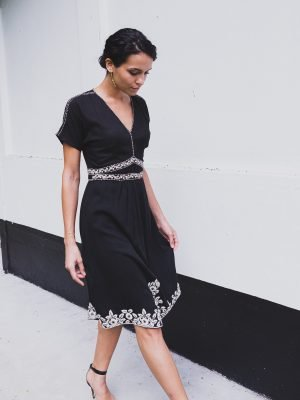 black dress for women with white hand embroidery fashion capsule by juliette